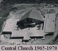 Black & white aerial photo of Sacramento Central Church, after the building was about complete, but before the parking lot was added. Photo is dated 1965-1970.