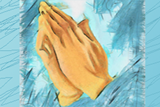 Color pencil drawing of hands held together in prayer.